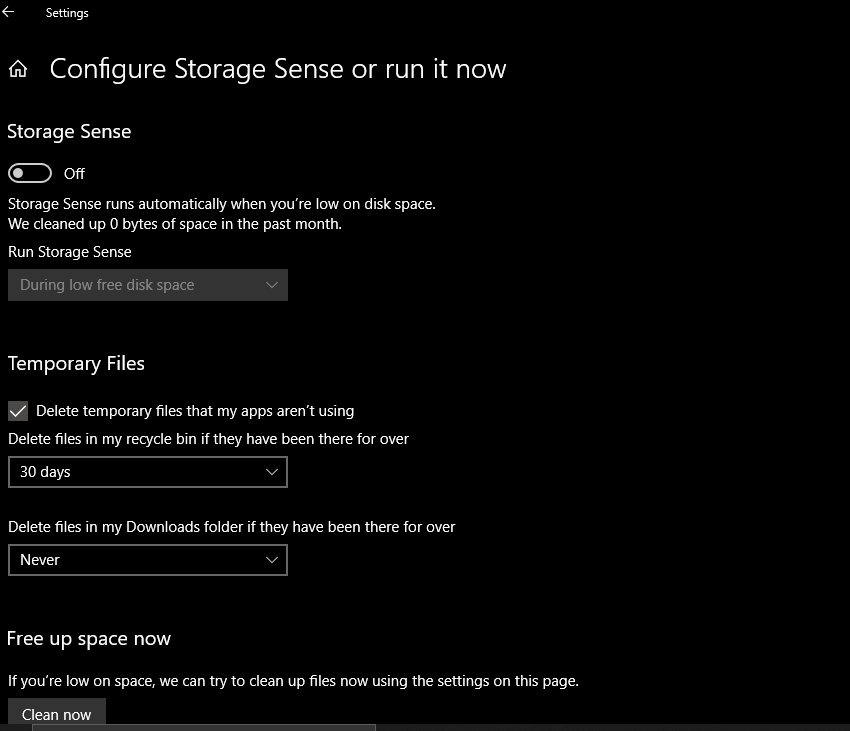 How to use Storage sense in Windows 10 PC?