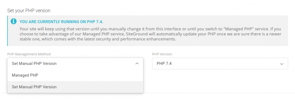 set your php version
