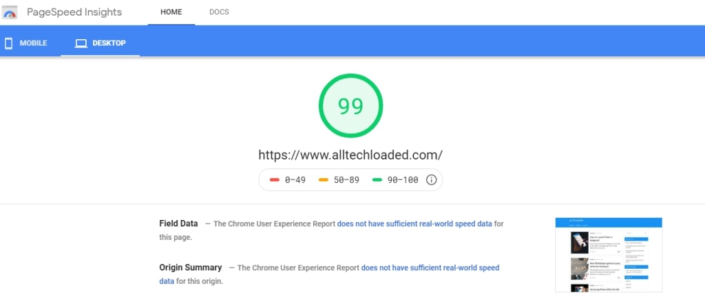page speed test for hosting