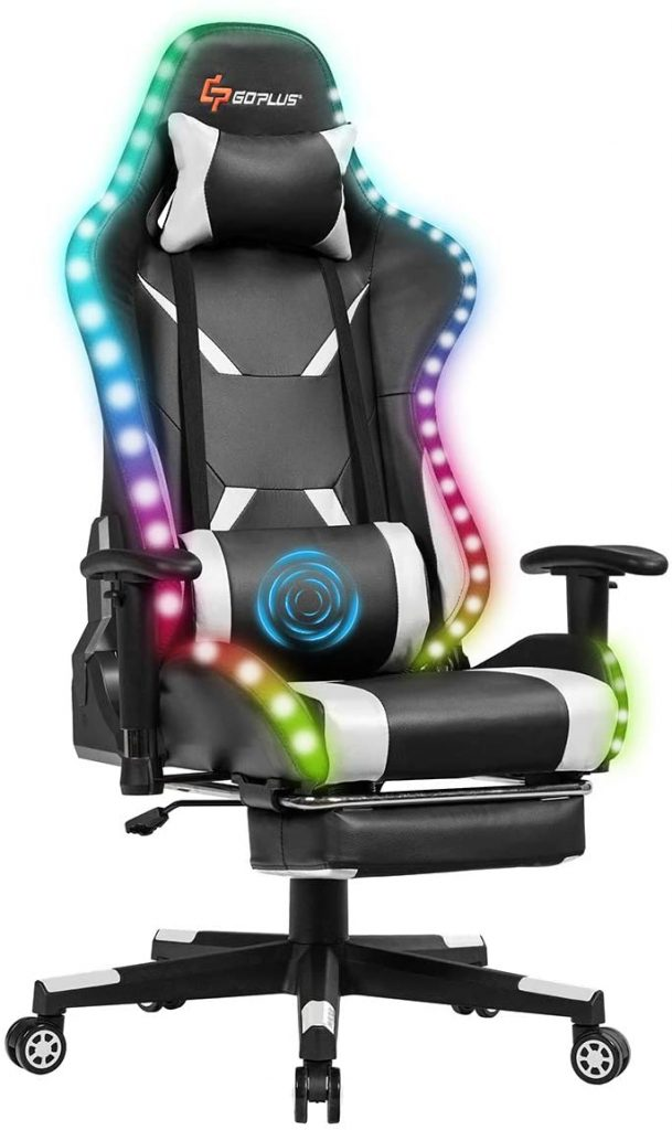 Goplus White Gaming Chair With Led Lights